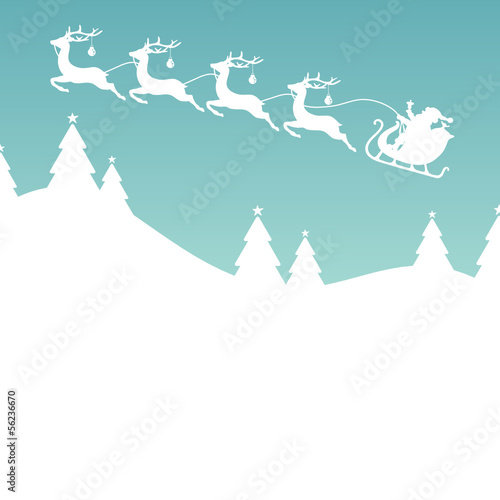 Christmas Card Sleigh Silent Night Retro