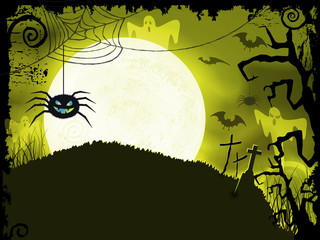 Yellow green Halloween background with scary spider