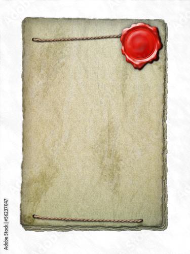 Papier Stapel - Wachssiegel - Seil