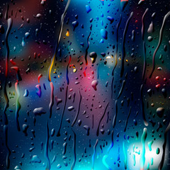 City Road at Night, view through wet glass, vector Eps 10 image.