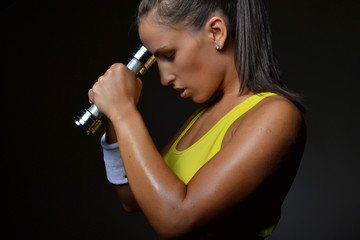 beautiful fitness woman  lifting dumbbells, studio shot