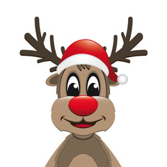 reindeer red nose with santa hat