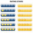 Rating Stars - 0 bis 5 - blau und gelb