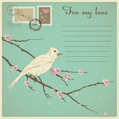 Pretty vintage card for valentines day with bird