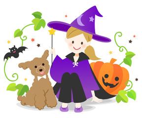 ハロウィンの衣装を着た女の子とトイプードル