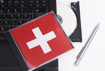 Daten-CD und Notebook