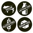 4 black symbols gluten free, sugar free lactose free vegan