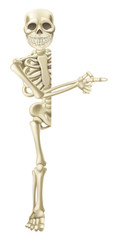 Cartoon Halloween Skeleton Pointing