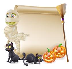 Mummy Scroll Halloween Banner