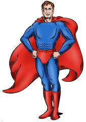 Superhero standing with space for logo