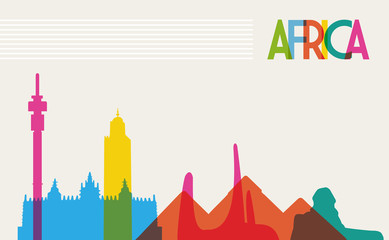 Diversity monuments of Africa, famous landmark colors transparen