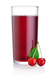 Glass of cherry juice with fruits isolated on a white background