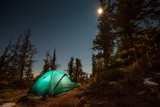 Fototapety Tent illuminated with light in night forest