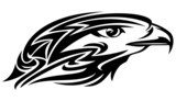 falcon head tribal style black and white vector design