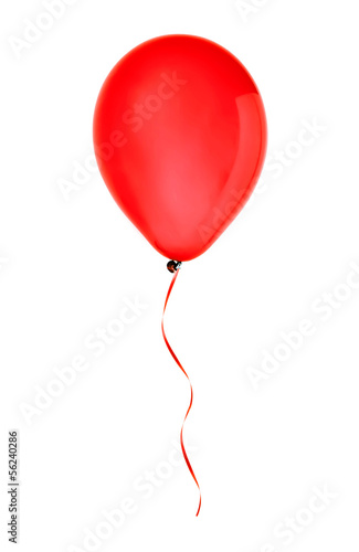 red happy air flying balloon isolated on white - 56240286