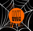 Happy Halloween pumpkin text over spider web illustration EPS10