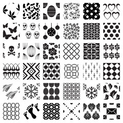 Set of monochrome geometric seamless patterns