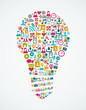 Social media icons isolated idea light bulb EPS10 file.
