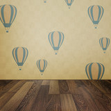 Vintage interior grunge background with wooden floor and balloon