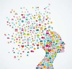 Female human head shape with social media icons design EPS10 fil
