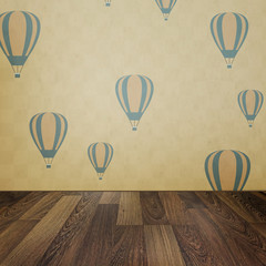 Vintage interior grunge background with wooden floor and balloon