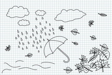Autumn weather and umbrella handdrawing illustration