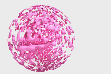 ピンクの球のオブジェ