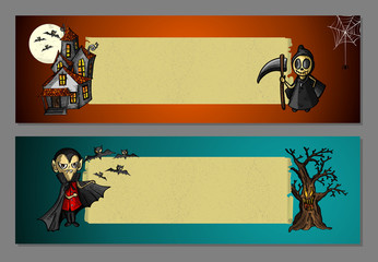 Halloween monsters blank space web banners set EPS10 file.