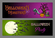 Halloween monsters happy party web banners set EPS10 file.