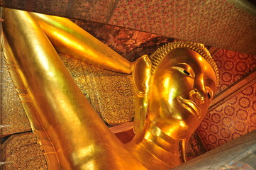 Reclining Buddha statue in Thailand. Wat Pho, Bangkok