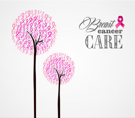 Breast cancer awareness pink ribbons conceptual trees EPS10 file