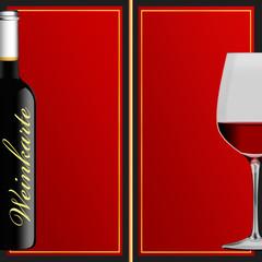 Weinkarte - doppelseitig in Dunkelrot mit Goldrand