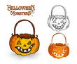 Halloween monster pumpkin lantern illustration EPS10 file