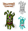 Halloween monsters spooky creature illustration EPS10 file