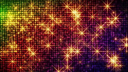 shiny colorful circles and stars loop