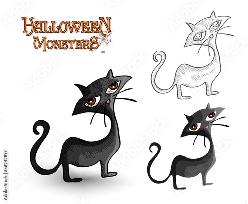 Halloween monsters spooky back cat illustration EPS10 file