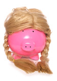 Piggybank wearing a girls wig