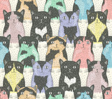 Seamless pattern with cute cats for children - 56243045