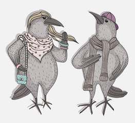 Cute cartoon hipster crows