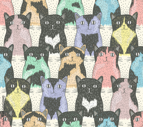 Seamless pattern with cute cats for children