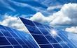 canvas print picture - Solarkollektoren, Sonne und Wolken