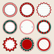 Set Of Round Christmas Frames Red/Green