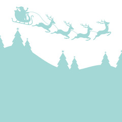 Background Christmas Sleigh 4 Reindeers Retro