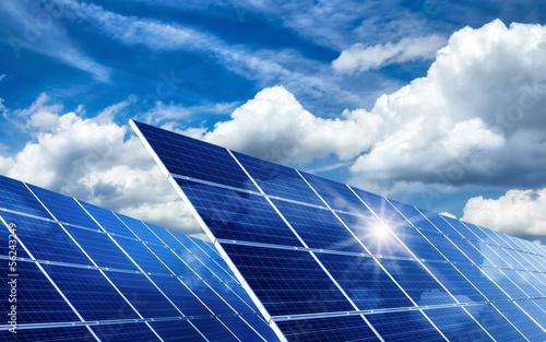 canvas print picture Solarkollektoren, Sonne und Wolken
