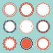 Set Of Round Christmas Frames Retro
