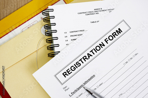 Blank registration form