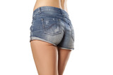 Rear view of denim shorts on a young woman