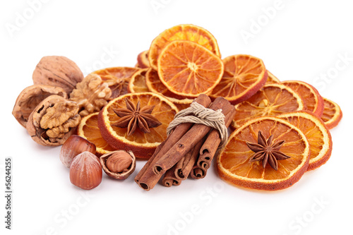 dried orange sliced with cinnamon and nuts