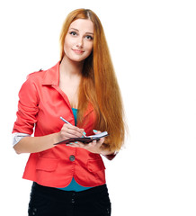 Attractive young woman in a red jacket. Keep a notepad and write