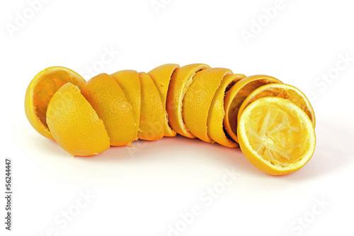 Leere Orangenhälften